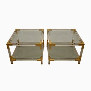 Tavolino in plexiglas e oro di Charles Hollis Jone, anni '70