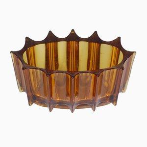 Cuenco Mid-Century de vidrio envejecido de Orrefors, años 50
