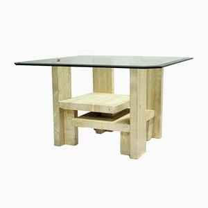 Table Basse en Travertin par Willy Ballez, 1970s