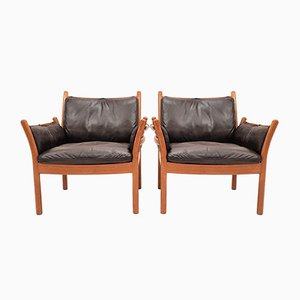 Danish Genius Leather and Teak Lounge Chairs by Illum Wikkelsø for CFC Silkeborg, 1960s, Set of 4