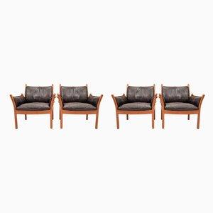 Dänische Genius Sessel aus Leder und Teak von Illum Wikkelsø für CFC Silkeborg, 1960er, 4er Set