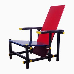 Modernist Wooden Side Chair by Gerrit Thomas Rietveld, 1980s