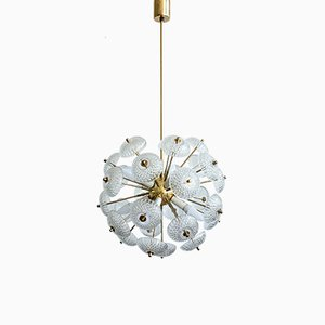 Brass, Crystal, and Plastic Dandelion Chandelier from Kamenický Šenov, 1960s