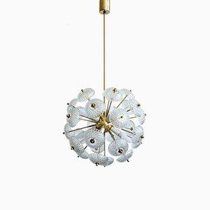 Lámpara de araña Dandelion de latón, cristal y plástico de Kamenický Šenov, años 60