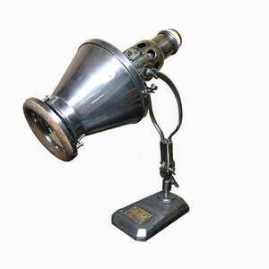 Vintage Industrial German Cast Iron and Iron Table Lamp from Hanau