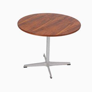 Tavolino in palissandro e acciaio di Arne Jacobsen per Fritz Hansen, Danimarca, anni '60