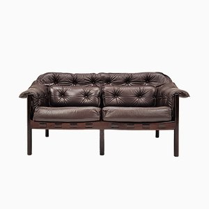 925-2 Leather and Mahogany Sofa by Arne Norell for Coja, 1960s