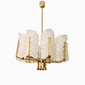 Mid-Century Brass and Glass Chandelier by Carl Fagerlund for Orrefors