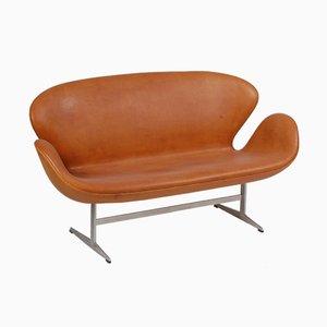 Sofá danés de acero y cuero anilino de Arne Jacobsen para Fritz Hansen, años 70