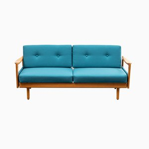 Mid-Century Petrol Blue Daybed, 1960s