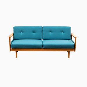 Sofá cama Mid-Century en azul petróleo, años 60