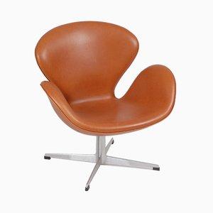 Dänischer Sessel aus Anilinleder von Arne Jacobsen für Fritz Hansen, 1960er
