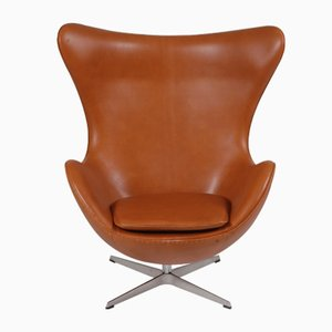 Danish Aniline Leather Lounge Chair by Arne Jacobsen for Fritz Hansen, 1980s