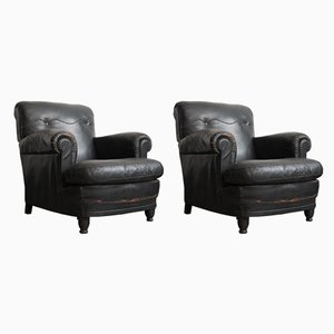 Art Deco Italian Leather Lounge Chairs from Poltrona Gaidano, 1930s, Set of 2