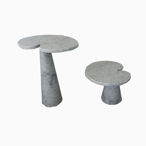 Model Eros Carrara Marble Coffee Tables by Angelo Mangiarotti for Skipper, 1970s, Set of 2