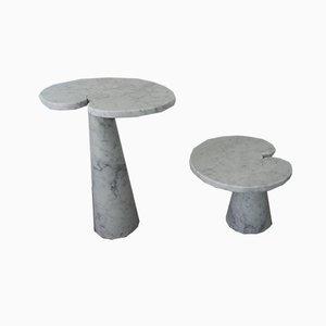 Tavolini da caffè Eros in marmo di Carrara di Angelo Mangiarotti per Skipper, anni '70, set di 2