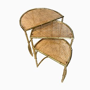 Tables Gigognes Mid-Century en Faux Bambou et Laiton, Italie, 1960s