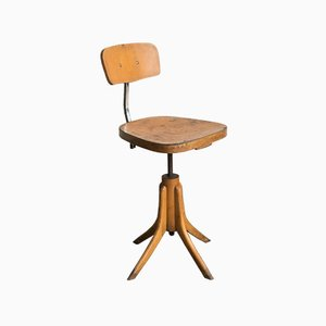 Italienischer verchromter Drehsessel aus Eisen & Holz, 1950er