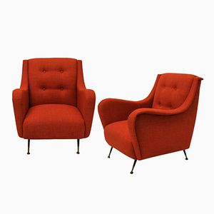 Mid-Century Sessel in gebranntem Orange, 1950er, 2er Set