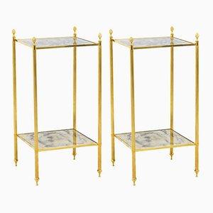 Mesas auxiliares de latón dorado y espejo oxidado, años 60. Juego de 2