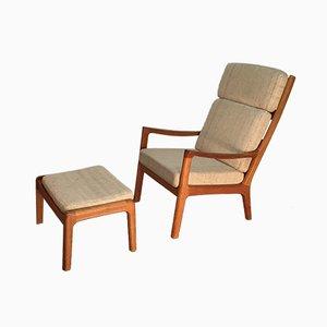 Skandinavische moderne dänische Sessel und Fußhocker aus Teak & Wolle von Ole Wanscher für Poul Jeppesens Møbelfabrik, 1970er