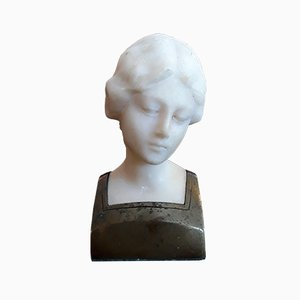 Buste Art Nouveau en Albâtre et Bronze