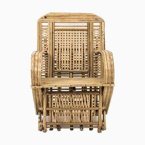 Butaca egipcia de bambú crudo, años 80