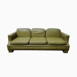 Vintage French Olive Green Leather Sofa from Jansen, 1970s