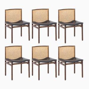 Stühle aus Schilfrohr & Palisander von Alfred Hendrickx, 1960er, 6er Set