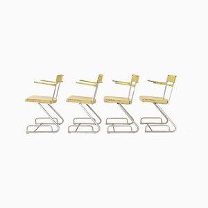 Industrielle schweizer Esszimmerstühle aus Eisen & Zink, 1940er, 4er Set