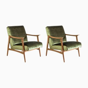 Scandinavian Teak & Velvet Armchairs, 1970s, Set of 2