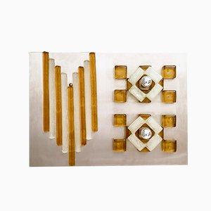Aplique italiano moderno de cristal de Murano y acero de Albano Poli para Poliarte, años 70