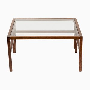 Spanish Glass and Oak Coffee Table, 1960s