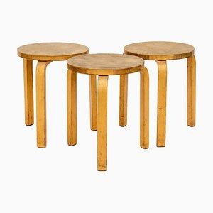 Taburetes apilables de roble de Alvar Aalto, años 60. Juego de 4