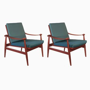 Model FD 133 Teak Lounge Chairs by Finn Juhl for France & Søn, 1950s, Set of 2