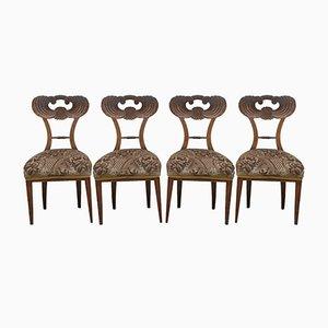 Antike Biedermeier Esszimmerstühle aus Kirschholz, 4er Set