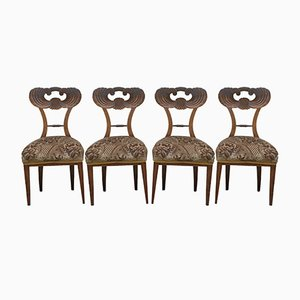 Antique Biedermeier Cherry Dining Chairs, Set of 4