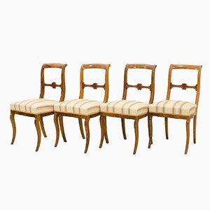 Antike deutsche Biedermeier Esszimmerstühle, 4er Set