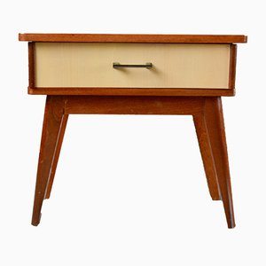 Mid-Century Wooden Nightstand with Compass Feet, 1950s