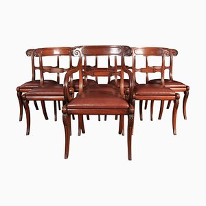 Regency Mahogany & Leather Dining Chairs, 1810s, Set of 8