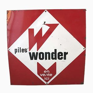 Enameled Wonder Batteries Sign, 1950s