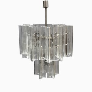 Italian Modern Steel and Hand-Blown Glass Chandelier, 1980s