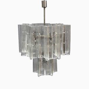 Lámpara de araña italiana moderna de acero y vidrio soplado, años 80