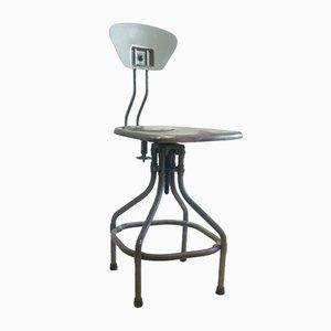Industrieller französischer Drehstuhl aus Metall von Henri Lieber, 1930er