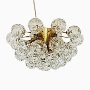 Deutsche Deckenlampe aus Messing & Glas von Doria Leuchten, 1960er