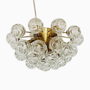 German Brass and Glass Ceiling Lamp from Doria Leuchten, 1960s