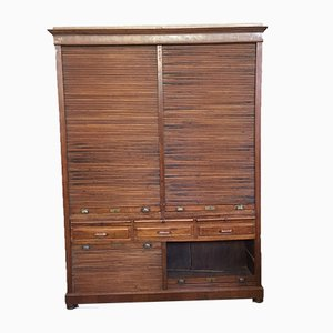 Large Antique Tambour Front Filing Cabinet from Rovinazzi Bologna