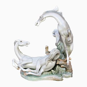 Vintage Porcelain Horses Sculpture by Fulgencio García for Lladró, 1976