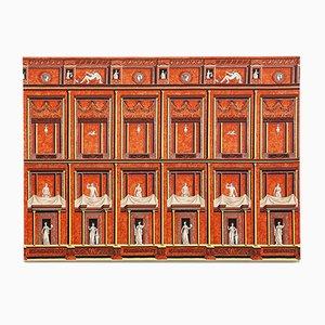 Pompejanischer Grafikdruck auf Stoff von Piero Fornasetti, 1950