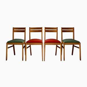 Französische Esszimmerstühle aus Kunstleder & Eiche, 1950er, 4er Set